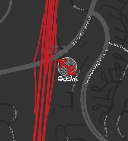 Map of RB Sushi Rancho Bernardo