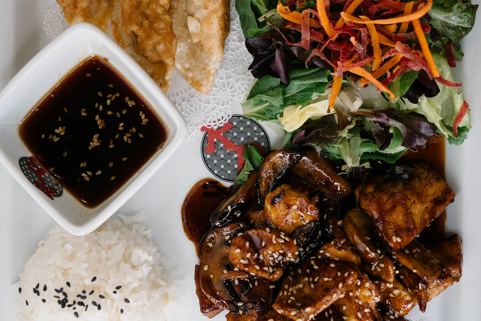 Teriyaki plate with Teriyaki chicken, rice, salad and gyoza